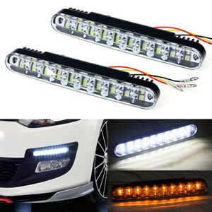 2x 30 Led Car Fog Daytime Running Bulb Drl Daylight Lamp With Turn Lights 12v