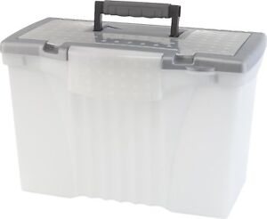 Storex Portable File Box With Organizer Lid 17 13 X 9 63 X 11 Inches