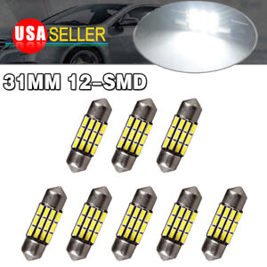 8x Super White 31mm 12smd Festoon Led Interior Dome Light Bulbs De3175 3022 3021