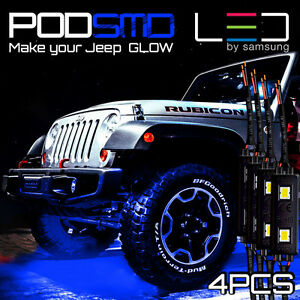Led 4x4 Off Road For Jeep Under Body Rock Lights Ultra Bright Blue