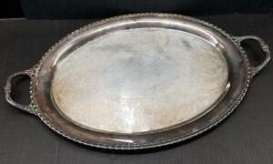 Superb Rogers Bro 25x16 Oval Silverplate Handled Serving Tray Platter Chased