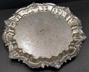 Birmingham Silver Co 14 5 Round Silverplate Footed Serving Tray Chased Scroll