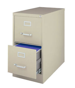 Luxor Metal 2 Drawer Letter sized Vertical File Storage Cabinet Putty