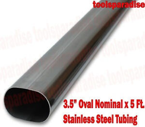 3 5 Od In X 5 Ft Oval Straight Exhaust Header Pipe Tubing Intercooler Downpipe