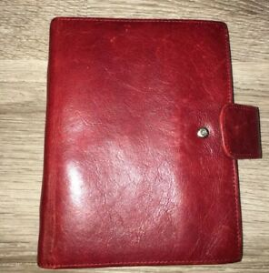 Red Franklin Covey Compact Leather Binder 6 Rings fits Personal Inserts Also