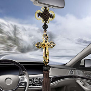 Pendant Metal Diamond Cross Jesus Christian Religious Car Styling Accessories