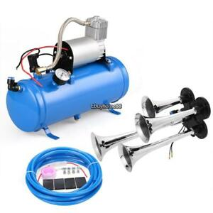 Air Horn 4 Trumpet 12 Volt Compressor Hose 150 Db Train 120 Psi Kit Truck Blue