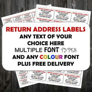 Highly Personalised Return Address Sticky Sticker Labels Cheapest On Ebay p