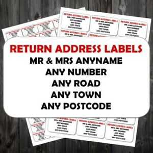 Personalised Sticky Return Address Labels Mini Or Large Add Any Text