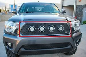 Grillcraft Xe Series 4 Led Black Mesh Grille Kit For 2012 2015 Toyota Tacoma