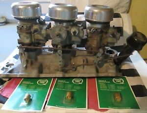 Barn Find Vintage Edelbrock 3x2 Chevy Sb V 8 W Air Cleaners Carburetors Carbs
