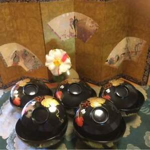 Lacquerware Wajima Painted Makie Art Grapes 5 Pieces Japan Beautiful Ems F S