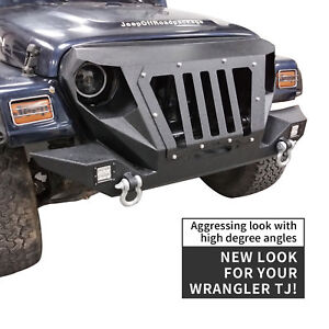 Front Bumper W Grille Winch Plate Off road For 1997 2006 Jeep Wrangler Tj