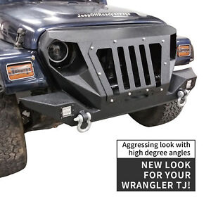 Front Bumper W 2 D Rings Winch Plate Off Road For 1997 2006 Jeep Wrangler Tj