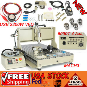 usb 4 axis Cnc Router 6090 Engraver Milling Drilling Carving Vfd 2 2kw Spindle