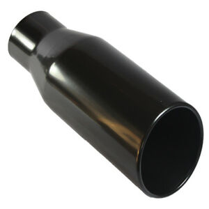 Black Stainless Steel Roll Edge Truck Exhaust Tip 4 Inlet 6 Outlet 15 Long