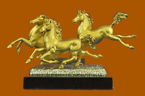 Clearance Sale Three Horses Stallion Bronze Sculpture Figurine Figure Nr