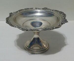 Vtg Fisher Sterling Silver Candy Dish English Rose Pattern 2438 Pedestal Bowl