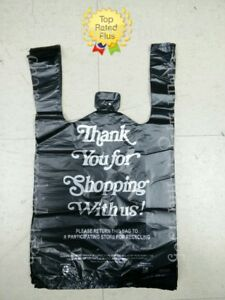 Hdpe Black Thank You T shirt Bags Bag 1 8 Plastic Shopping Bags 10 X 5 X 18