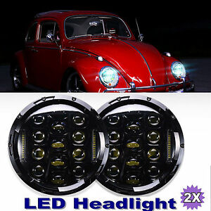 2x 7 Inch Round Led Headlights Upgrade Kit Drl Lamp For Vw Beetle Classic 6000k