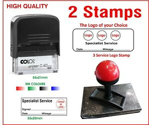 Colop Self Inking Rubber Stamp Motorcycle 3 Logo 2 Stamps Lot Garage Specialist