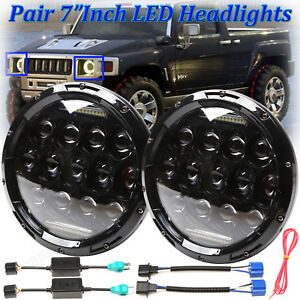 7 inch Led Headlights Daymaker High low Beam Drl Upgrade For Hummer H3t H3 H1 H2
