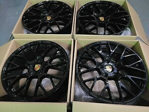 21 Porsche Panamera Turbo Gts 2015 17 Hybrid Wheels Rims Glossy Black Set 4 Oem