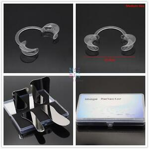 Hot 15pcs C shape Mouth Opener 3size 4pcs Stainless Steel Reflector Mirror