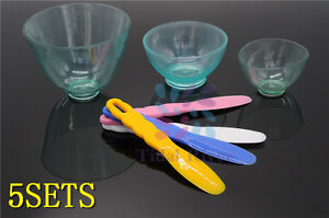 New 5sets Dental Lab Silicone Flexible Rubber Mixing Bowl Spatulas