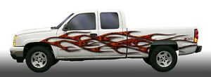 Twisted Flames Motorcycle Go Kart Race Car Trailer Semi Vinyl Graphic Decal