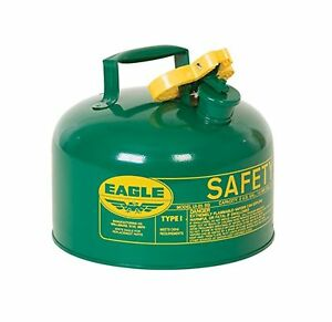 Eagle Ui 25 sg Green Metal Safety Gas Can 2 5 Gal Capacity