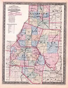 Missouri Campbell S Missouri 5 Counties Map Hand Colored 1873 Original