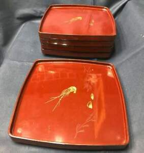 Antique Ise Shrimp And Lacquer Ware 5 Pcs With Legs Japan Beautiful Ems F S