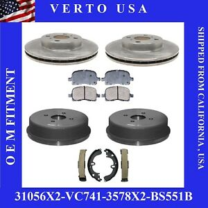 Complete Front Rear Rotors Drums Ceramic Pads Brake Shoes