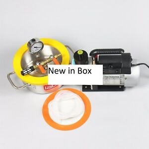 0 8 Gallon Stainless Steel Degassing Chamber And 3cfm Vacuum Pump Kit