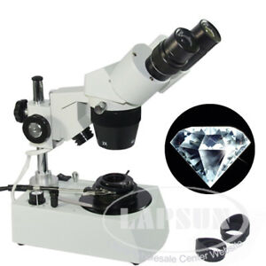 20x 40x Jewelry Gem Diamonds Stereo Binocular Microscope Darkfield Condenser Us