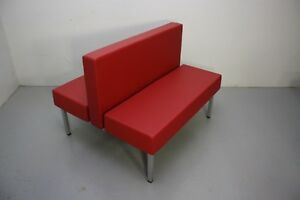 45 Upholstered Double Booth Red W Silver Powder coated Freestanding Metal Base