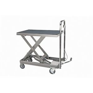 Rolling Table Cart Hydraulic Lift Cart W foot Pump Dolly Tools 500 Lbs