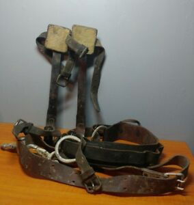 Vintage Leather M klein Atlas Safty Lineman Tree Climbing Gaffs Spikes nice