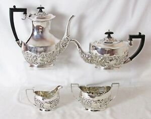 Stunning Sheffield Silver Plated Repousse 4 Pc Tea Coffee Set