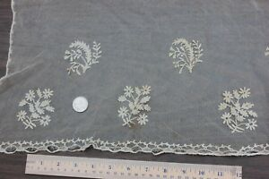 Wonderful French Antique Early 19thc Hand Applique On Net Lace Dolls Bridal
