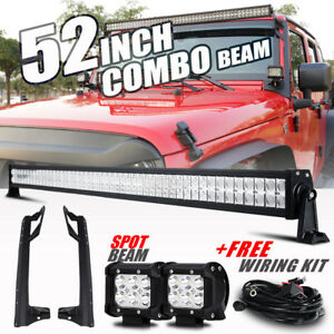 For Jeep Jk Wrangler Windshield Mount Bracket 52 700w Led Light Bar 18w Pods 50