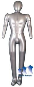Inflatable Male Mannequin Full size With Head Arms Silver