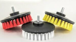 3pc Carpet Mat 5 Round Brush W power Drill Attachment Car Care