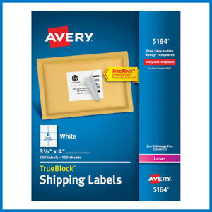 Avery Laser Mailing Labels 3 1 3 X 4 5164 600 count