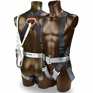 421020 Safety Fall Protection Kit Full Body Harness 6 Shock absorbing Lanyard