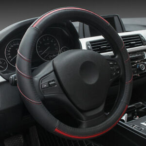 15 Leather Steering Wheel Cover Breathable Anti Slip Odorless Red For Ford