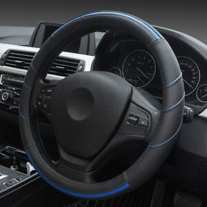 Blue 15 38cm Leather Car Suv Steering Wheel Cover Breathable Odorless Fit Ford