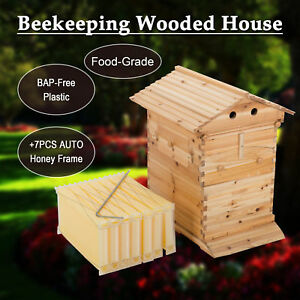 10 frame Bee Hive Frame For Bee Keepers W 7pcs Auto Honey Hives