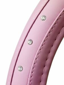 Pink Diamonds Soft Leather Car Steering Wheel Cover Glove Girls Ladies Lady Grip